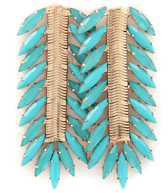 Turquoise Gold Jeweled Vine Linear Earrings