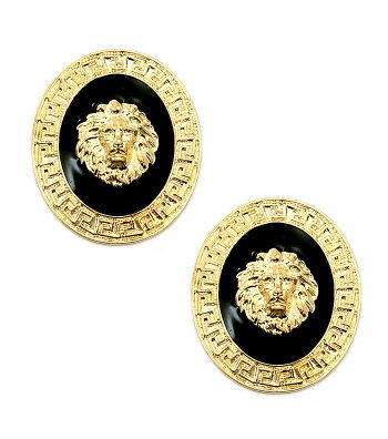Gold Black Lion head Medusa Stud Earrings
