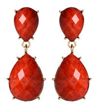 Amrita Singh Coral Gold-tone Two-Tiered Resin Stone Earrings.