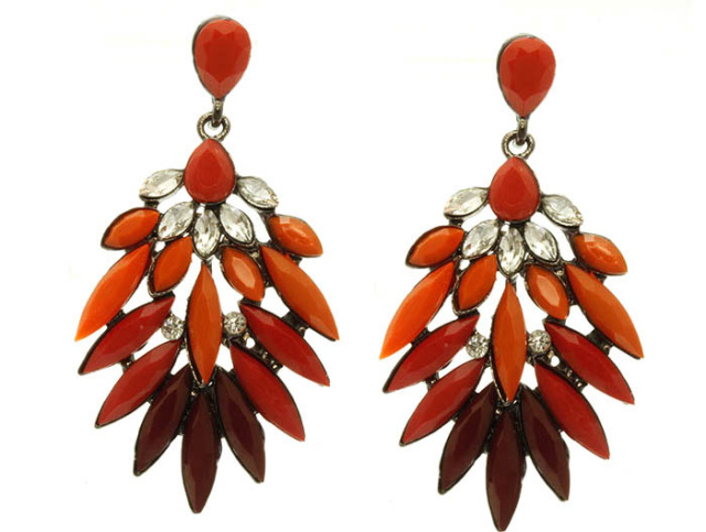 Orange Shourouk Crystal Teardrop Earrings