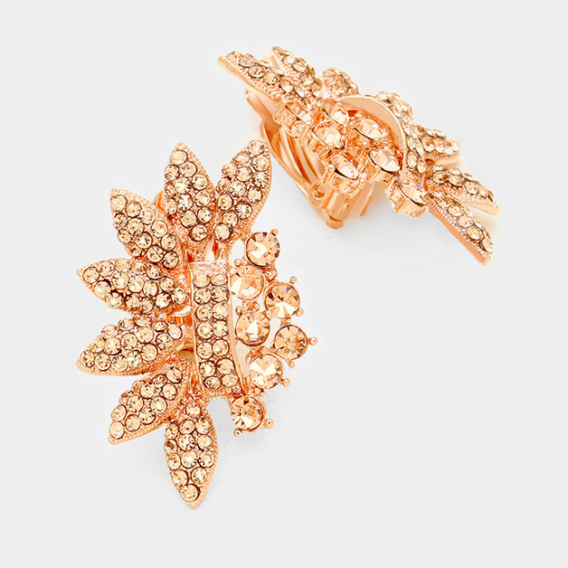 Rose Gold Crystal Leaf Vine Clip Earrings