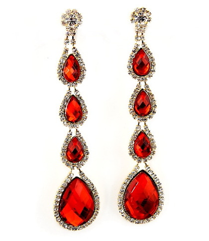 Ruby Red Pave Multi Teardrop Linear Dangle Earrings