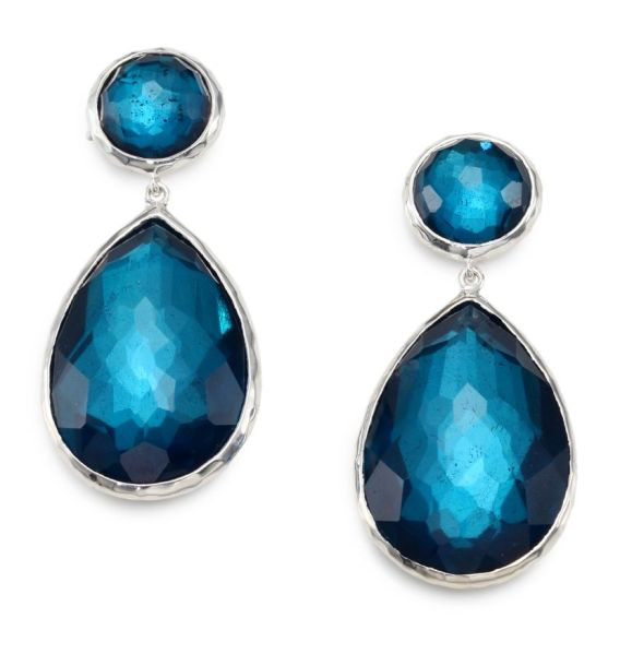 Silver Faceted Blue Stone Double Drop Earrings