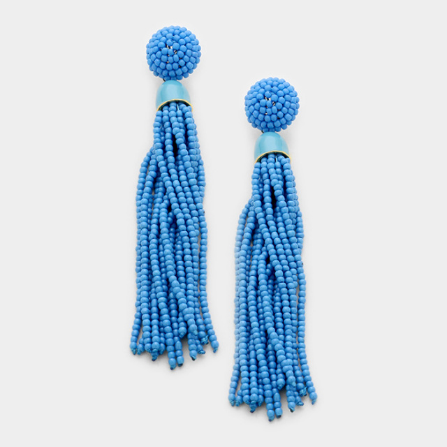 Turquoise Long  Bead Tassel Earrings