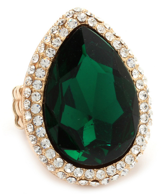 Emerald Pear Shaped Crystal Cocktail Stretch Ring