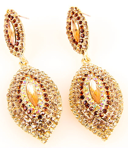 Gold Rhinestone Crystal Pear Drop Earrings