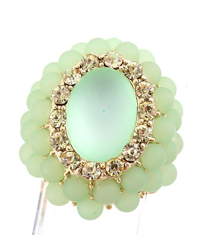 Jade Large Oval  Beaded Stretch Cluster Cocktail Ring
