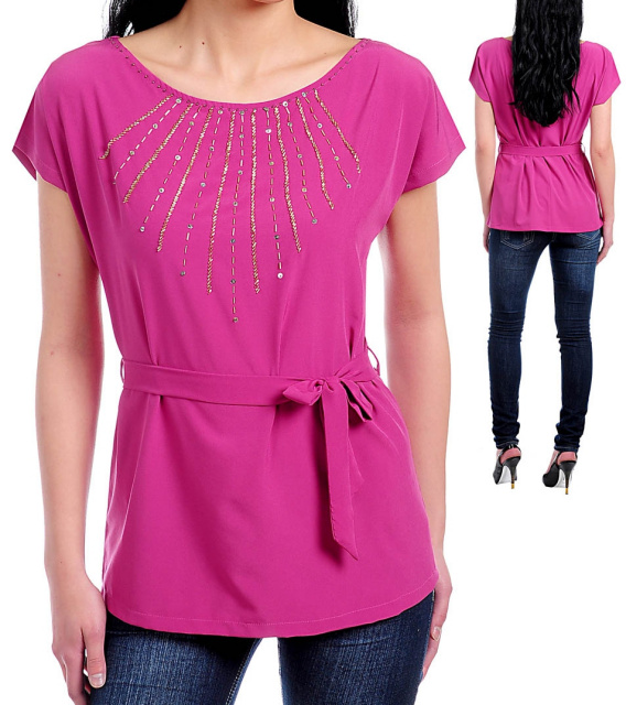 pink magenta beaded blouse