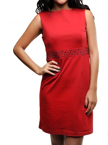 Red Beaded Shift Crepe Dress