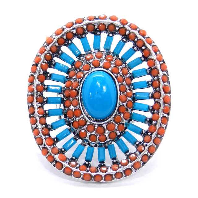 Turquoise Coral Oval Oversized  Tribal Ring