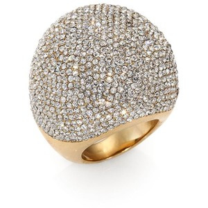 Gold-Tone & Crystal Pavé Dome Stretch Ring
