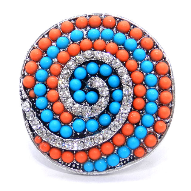 Turquoise Beads Spiral Round Cocktail Ring