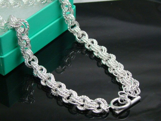 .925 Sterling Silver Hammered Oval Rolo Links Chain Necklace 20 Inches