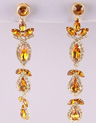 Gold Brown Topaz Austrian Crystal Dangle Drop Earrings