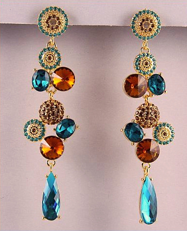 Gold Topaz Blue Crystal Cluster Cascading Dangle Earrings