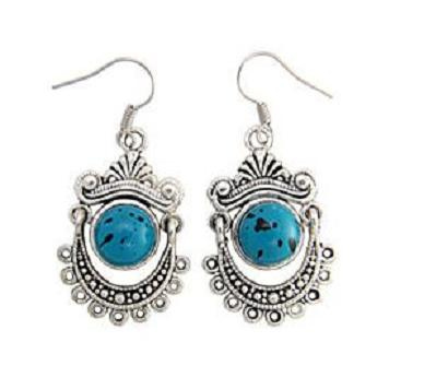 Turquoise Silver Tibetan Filigree Dangle Earrings