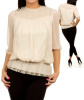Beige Lace Eyelet Embroidered  Peplum Blouse