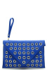 Cobalt Oversized Grommet Envelope Clutch Purse