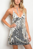 White Silver Metallic Sequins Embroidered Paillete Dress