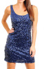 Blue Sequined Cocktail Sheath Dress