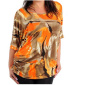 Orange Print Side Ruched Plus-Size Jersey Top