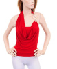 Red Cowl Draped Jewel Halter Top
